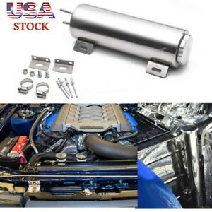 30oz Universal Radiator Coolant Aluminum Catch Tank Overflow Reservoir Silver