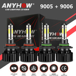 4 Side 9005 9006 Led Combo Headlight Kit High Low Beam Bulb 6000k 5400w 800000lm