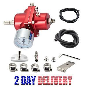 Universal 1 140 Psi Adjustable Fuel Pressure Regulator Kit W Gauge Red Us