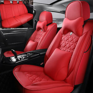 Universal Luxury Pu Leather Car Seat Cover 5 Sit Front Rear Sedan Suv Truck Auto