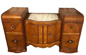 Antique Art Deco Waterfall Wood Vanity Dresser Bowed Burl Veneer Casters Nouveau