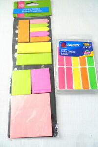 2 Packages Sticky Notes Labels Hot Neon Colors