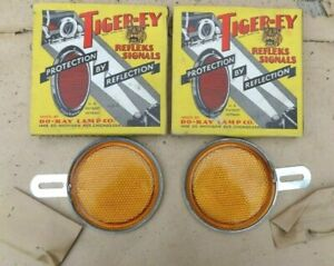 Nos Tiger ey Reflectors Amber Original Do ray Pair Vintage Accessory Car Truck