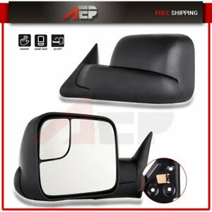 Towing Flip Up Side Manual Extending Mirrors Set Pair Fits 1994 2002 Dodge Ram