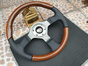 Rare Vintage Momo Fighter Wood Black Leather 350mm Steering Wheels