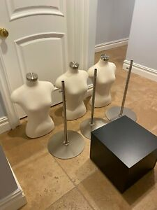 3 Female Body Mannequins On Metal Stand And Display Cube