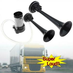 12v 178db Black Super Loud Dual Trumpet Electronically Controlled Car Air Horn