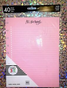 Me And My Big Ideas Create 365 The Happy Planner Filler Paper 40 Page Pack Pink