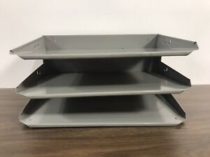 Vintage Lit ning Industrial Desk Top 3 tier Tray Gray Steel Office Letter File