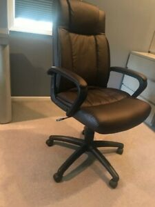 Rolling Leather Brown Computer Office Chair Used But Good Condition