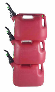 Fuelworx Red 5 Gallon Stackable Fast Pour Gas Fuel Can Carb Compliant 3 pack