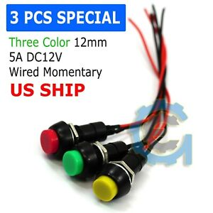 3 Pack Mini Push Button Pre wired Momentary N o Off on Switch Plug 12v 5amp Spst