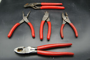 Snap On Lineman Adjustable Pliers Wire Cutter Needle Nose 5 Piece Tool Set