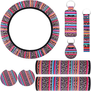 8 Pieces Leopard Print Car Accessories Set Including Car Steering Wheel Cover