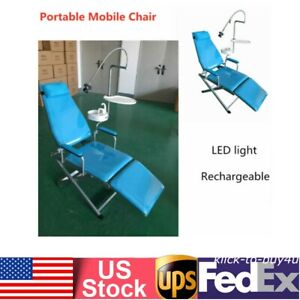 Dental Portable Folding Mobile Chair Led Light flushing System water Basin