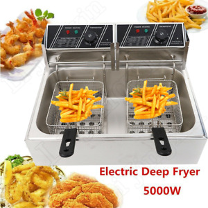 5000w 12l Electric Deep Fryer 1 Tank Fry Basket Commercial Restaurant