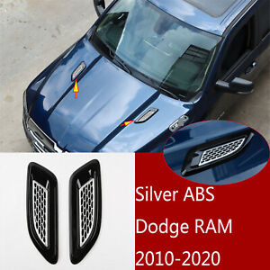 2 silver Abs Hood Side Fender Air Vent Intake Cover Trim For Dodge Ram 2010 2020