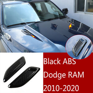 2 black Abs Hood Side Fender Air Vent Intake Cover Trim For Dodge Ram 2010 2020