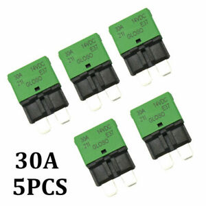 5pcs 30 Amp Circuit Breakers Atc ato Blade Fuse Resettable Car Boat Marine Truck
