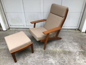 Hans Wegner Danish Modern Ge 290 Lounge Foot Stool Ottoman Chair By Getama