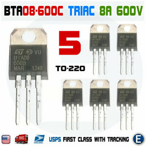 5pcs Bta08 600 Triac Bta08 600c 8a 600v To 220 Sensitive Gate