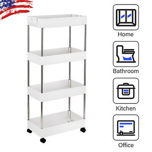 4 Tier Rolling Utility Cart Mobile Storage Organizer For Kitchen Bathroom Office