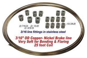 Copper Nickel Brake Line Kit 3 16 Od 25 Foot Coil Roll Assorted Ss Fittings