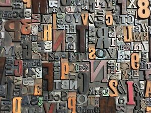 Lot Of 100 Large Vtg Metal Wood Letterpress Print Type Block Alphabet Letters s