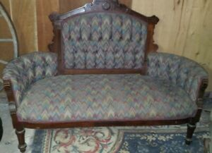Antique Victorian Love Seat On Casters