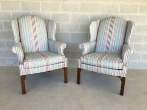 Sherrill Furniture Chippendale Style Wing Back Arm Chairs A Pair