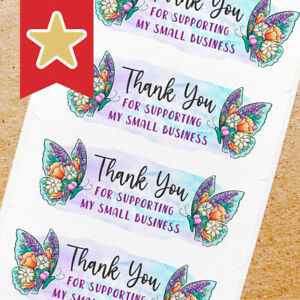 Thank You Labels Stickers For Small Business Sellers 100ct Butterfly Floral