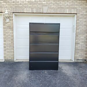 Hon Company 700 Series Black Five Drawer Lateral File With Roll out And Posting