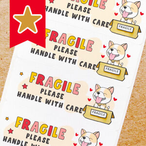 Fragile Labels Stickers For Online Shop Sellers 100ct Shiba Inu Dog With Toy