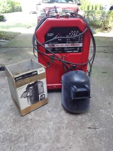 Lincoln Arc Welder Ac dc 225 125 Used With Welding Helmet