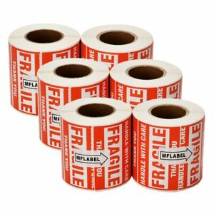 3000 Fragile Stickers 2x3 Handle With Care Thank You Warning Labels 6 Rolls