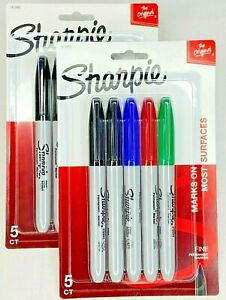 2pks Of 5ct Sharpie Fine Point Black Blue Red Green Colored Permanent Markers