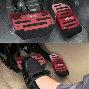 Red Automatic Car Anti Slip Metal Pedal Pad Brake Gas Foot Rest Pedals Covers Us