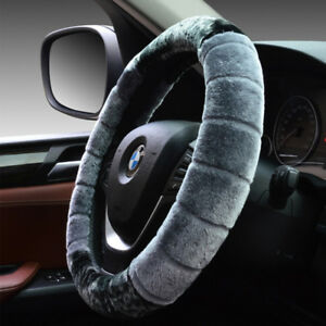 Grey Universal Warm Soft Fuzzy Plush Car Auto Steering Wheel Cover For Winter