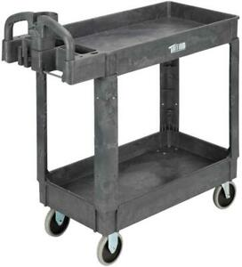 Utility Mobile Service Cart 550lbs Capacity With 2 Shelves 37 X 17 X 33 Grey