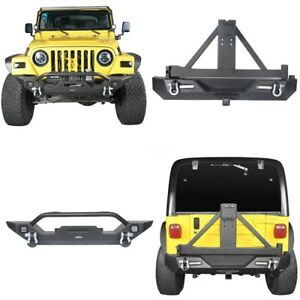 Powder Coated Front Rear Bumper W Led Lights For Jeep Wrangler Tj 1997 2006