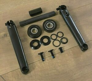 Black 3 Piece Bmx Crank Set 175 With 8t 19mm Cr Mo Axle Spindle American Type