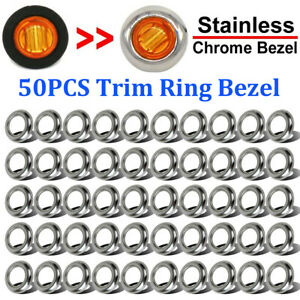 50x Round Stainless Steel Trim Ring Bezel Cover For 3 4 Inch Led Marker Lights