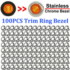 100x Round Stainless Steel Trim Ring Bezel Cover For 3 4 Inch Led Marker Lights