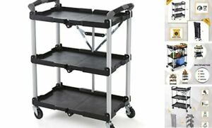 85 188 Pack n roll Folding Collapsible Service Cart Black 50 Lb Load Capacit