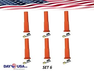 Spark Plug Boots Universal Orange Silicone And Stainless Steel Terminals X 6