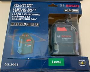 New Bosch Gll 2 20 S 65 Self leveling 360 Deg Horizontal Cross Line Laser Level
