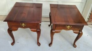 Vintage Pair Of Broyhill End Tables With Drawer Queen Anne Solid Cherry Wood