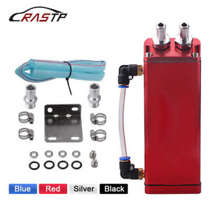 Universal Aluminum Square Car Engine Oil Catch Tank Can Reservoir Breather Kit