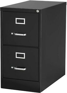 Staples 2 drawer Vertical File Cabinet Locking Letter Black 22 d 22335d
