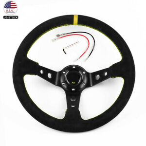 Us 14 350mm Deep Steering Wheel With Suede Leather Drifting 6 Bolt With Logo